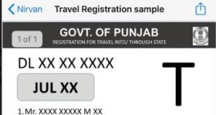 E-REGISTRATION FOR TRAVELLERS TO PUNJAB MADE MANDATORY FROM TONIGHT