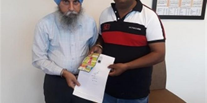 Rajpura man wins one Crore on Rs.100 ticket