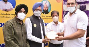 Sports Minister Rana Sodhi disburses training equipments worth Rs.95 lakh to 24 eminent national and international players